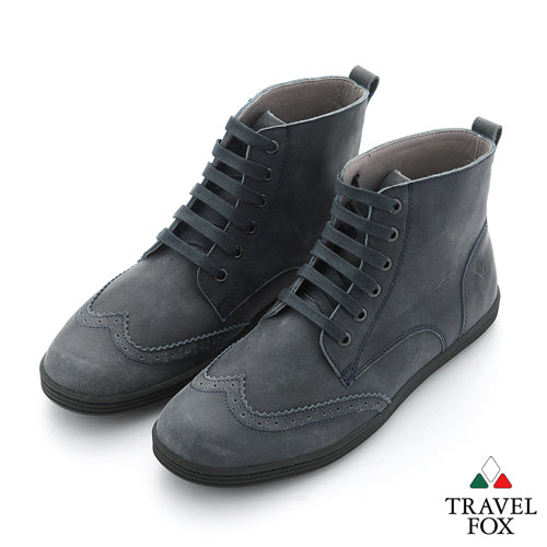 MEN'S BOOTS - DISTRESSED LEATHER WINGTIPS BLACK