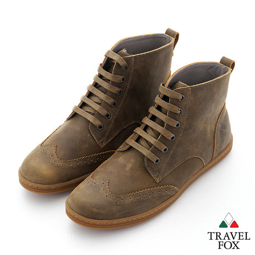 MEN'S BOOTS - DISTRESSED LEATHER WINGTIPS TAN