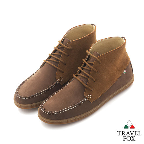 MEN'S CHUKKA BOOTS - TWO-TONE BROWN/SAND
