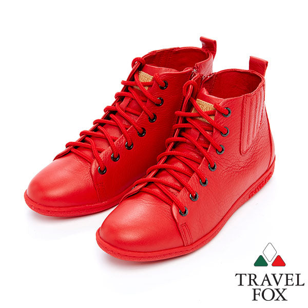 WOMEN'S BOOTIES with ZIPPER - RED NAPPA LEATHER