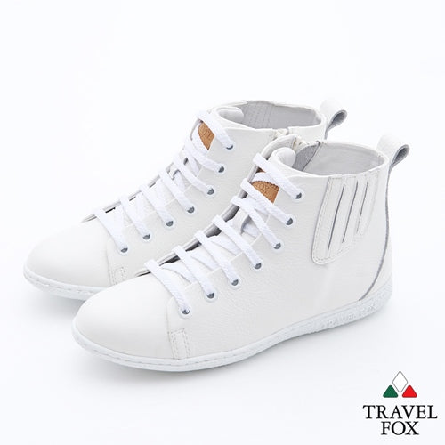 WOMEN'S BOOTIES with ZIPPER - WHITE NAPPA LEATHER