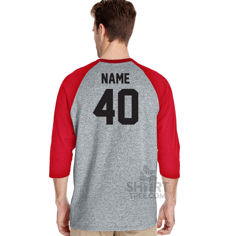 Personalized Baseball Themed Birthday Raglan Shirt