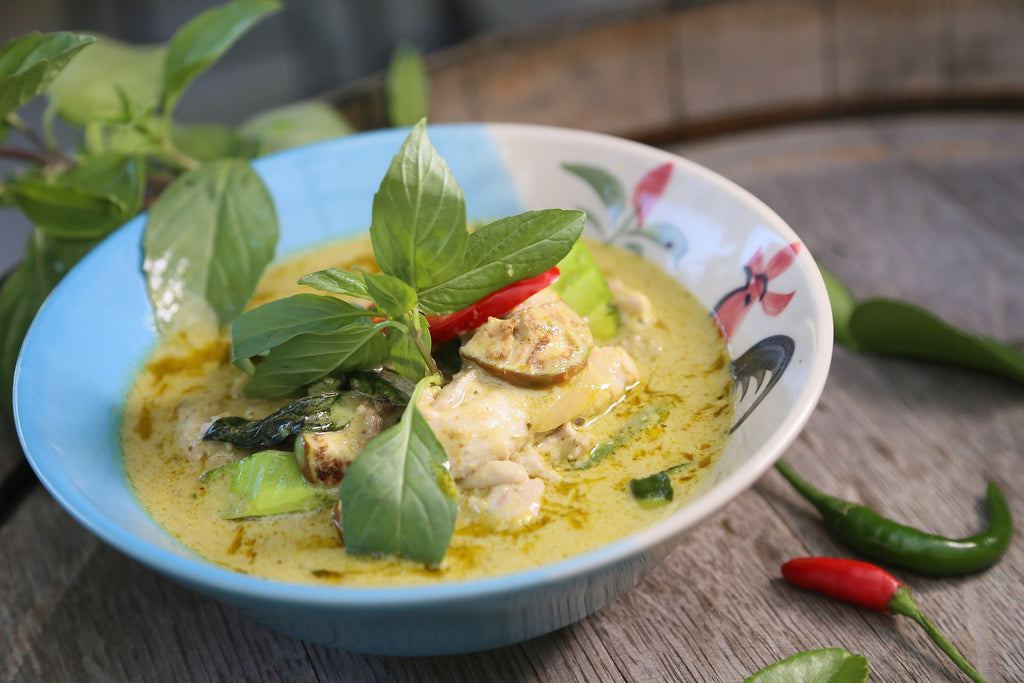 Green Curry Halibut with Saffron Jasmine Rice