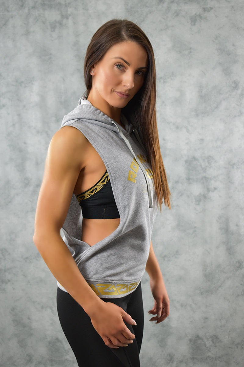 SIDE SLASH HOODIE - GREY