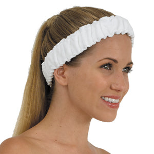 Terry Elasticized Spa Heaband White