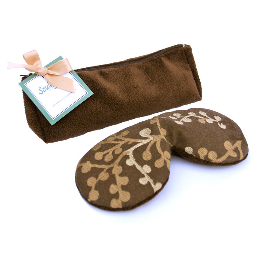 Soulage Asian Blossom Brown Chenille Eye Relief Pillow