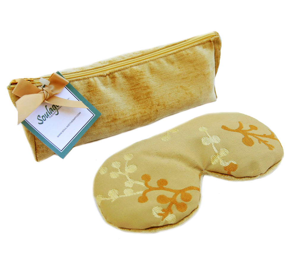 Soulage Asian Blossom Gold Chenille Eye Relief Pillow