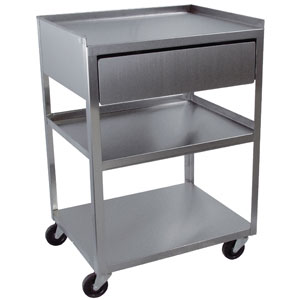 "3 Shelf Stainless Utility Cart with 4"" Drawer"
