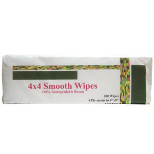 Bio-degradable 4x4 Wipes 200/pk