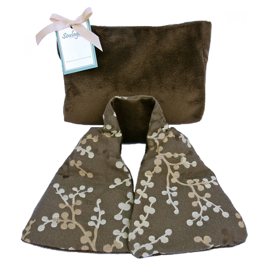 Soulage Asian Blossom Brown/Dark Brown Chenille Neck Wrap