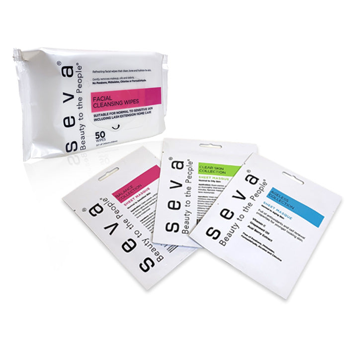 6 Pack Facial Cleansing Wipes/All Sheet Masques Sample Kit