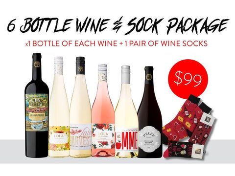 Knock your socks off - 6 Bottle package with Wine Socks-  $99