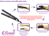 Steam Hair Straightener with Extra Water Tank  Professional Salon quality  4 Dry & Wet hair 360° Swivel Cord 450ºF