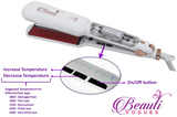 Infrared Steam Hair Straightener Iron Professional Salon Quality with 2'' Wide Ceramic Heat Plate & Anion Care