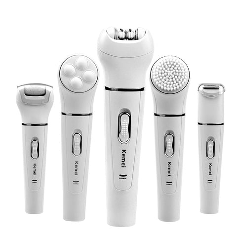 Kemei 5 in 1 Women Shaver Electric Shaver Epilator Shaving Bikini Trimmer Multifunction Lady's Shaver Remover Facial Razor