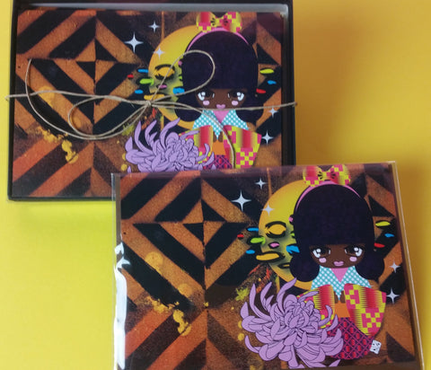 Chevron Afro Kokeshi Card - Box Set
