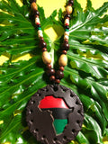 Large Brown Pan African Medallion with Wooden Beads