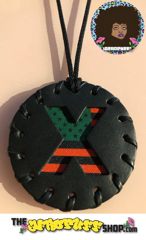 Small Black Pan African American Flag X Medallion