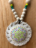Small White Puff Flower of Life Medallion