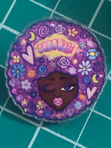 Flower Head Acrylic Pin