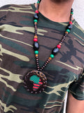 Small Metallic Brown Pan African Medallion with Beads