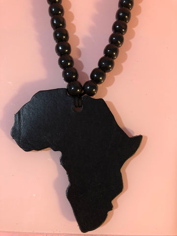 Large Black Leather Africa Necklace with Beads