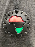 Small Black Pan African Puff Medallion