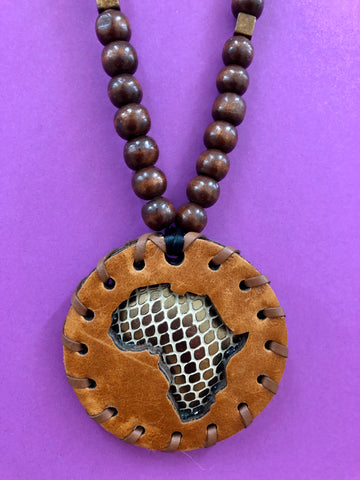 Small Sienna Brown Reptile Print African Puff Medallion