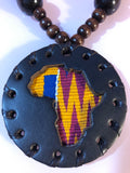 Small Brown African Khente Medallion with Beads