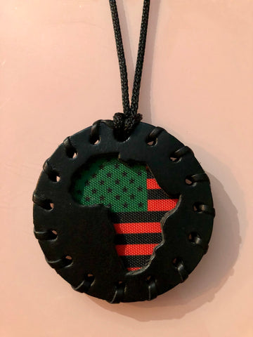 Small Black Pan African American Flag Medallion