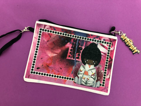 Hot Pink AfroKokeshi Doll Clutch