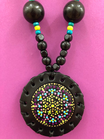 Small Black Leather Handpainted Flower of Life Medallion