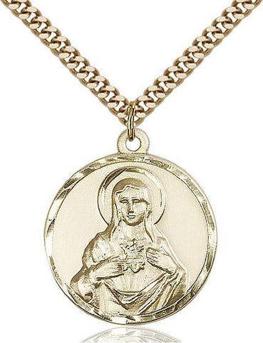 Immaculate Heart of Mary Gold Filled Pendant - Gerken's Religious Supplies