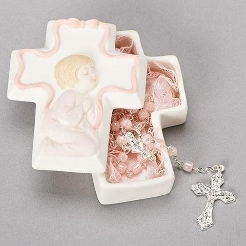 Cross Box with Pink Rosary - Gerken's Religious Supplies
