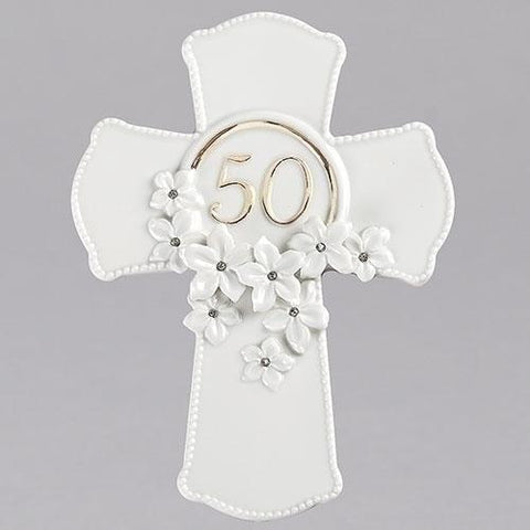 50th Anniversary Wall Cross with Flowers - Gerken's Religious Supplies