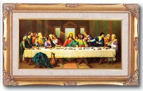 "The Last Supper by Zabateri Framed Picture - 11"" X 19"" - Gerken's Religious Supplies"