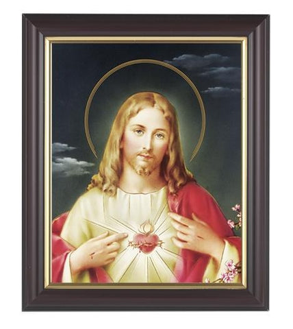 "Sacred Heart of Jesus Picture in Walnut Frame - 8"" X 10"" - Gerken's Religious Supplies"
