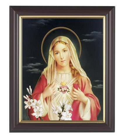 "Immaculate Heart of Mary Picture in Walnut Frame - 8"" X 10"" - Gerken's Religious Supplies"
