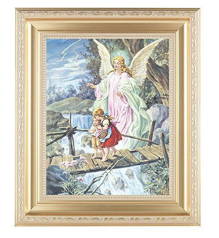"Guardian Angel Picture in Gold Frame - 8"" X 10"" - Gerken's Religious Supplies"