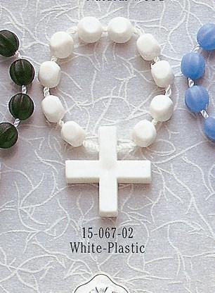 White Plastic Rosary Ring - Gerken's Religious Supplies