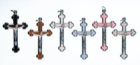 "Pink Enamel and Silver Metal Crucifix 2-1/4"" - Gerken's Religious Supplies"