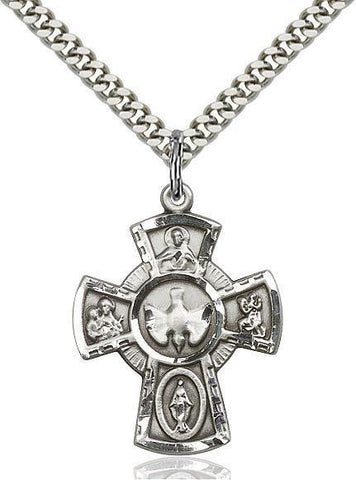 5-Way Sterling Silver Pendant - Gerken's Religious Supplies