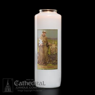 St Francis 6 Day Candle - Gerken's Religious Supplies