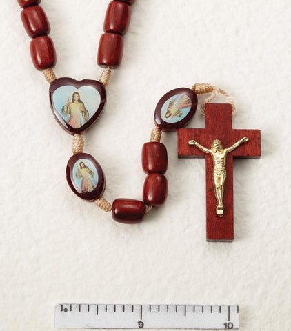 Divine Mercy Wooden Rosary on Cord - Gerken's Religious Supplies