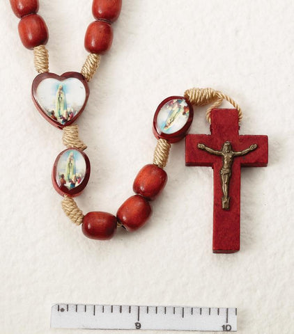 Our Lady of Fatima Wooden Rosary on Cord - Gerken's Religious Supplies