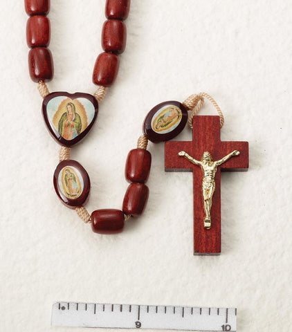Our Lady of Guadalupe Wooden Rosary on Cord - Gerken's Religious Supplies
