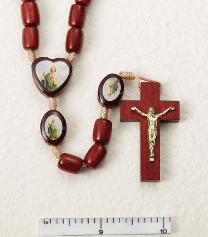 St. Jude Wooden Rosary on Cord - Gerken's Religious Supplies