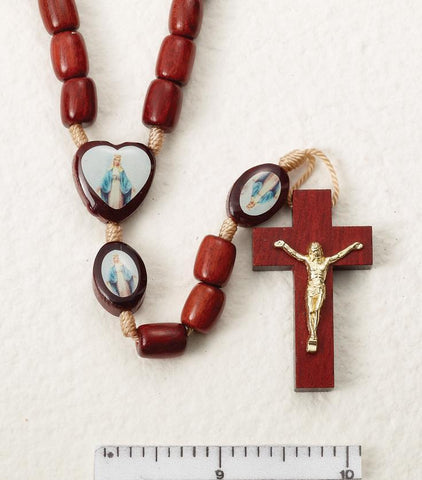 Our Lady of Grace Wooden Rosary on Cord - Gerken's Religious Supplies