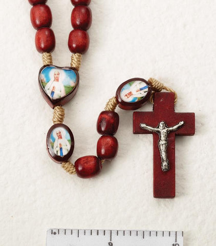 Our Lady of Lordes Wooden Rosary on Cord - Gerken's Religious Supplies