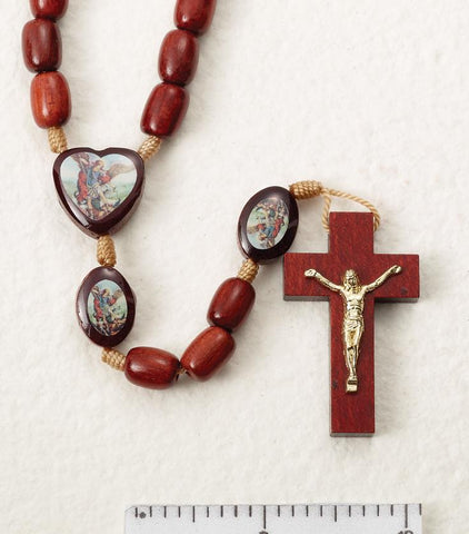 St. Michael Wooden Rosary on Cord - Gerken's Religious Supplies